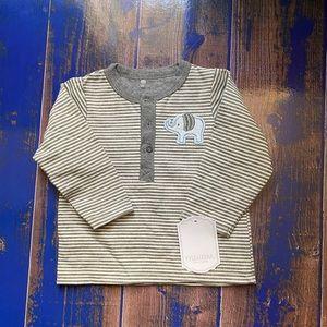 NWT! Kyle & Deena Boys 3-6 Mo Grey Striped Shirt